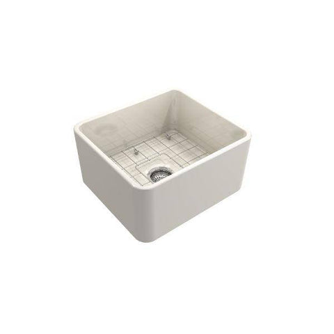 "Image of Bocchi Classico 20"" Biscuit Fireclay Single Bowl Farmhouse Sink w/ Grid-Annie & Oak"