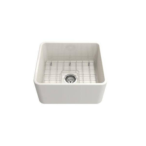 "Bocchi Classico 20"" Biscuit Fireclay Single Bowl Farmhouse Sink w/ Grid-Annie & Oak"