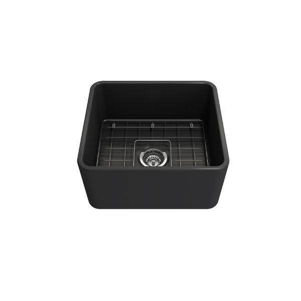 "Bocchi Classico 20"" Dark Gray Fireclay Single Bowl Farmhouse Sink w/ Grid - Annie & Oak"