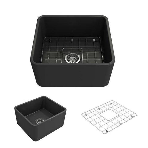 "Bocchi Classico 20"" Dark Gray Fireclay Single Bowl Farmhouse Sink w/ Grid-Annie & Oak"
