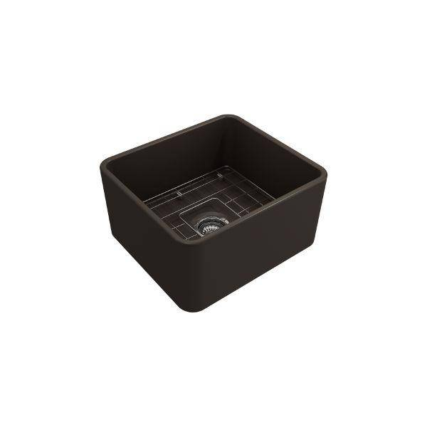 "Bocchi Classico 20"" Brown Fireclay Single Bowl Farmhouse Sink w/ Grid-Annie & Oak"