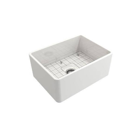 "Bocchi Classico 24"" White Fireclay Farmhouse Sink With Free Grid & Strainer-Annie & Oak"