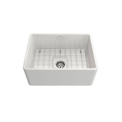 "Image of Bocchi Classico 24"" White Fireclay Farmhouse Sink With Free Grid & Strainer-Annie & Oak"
