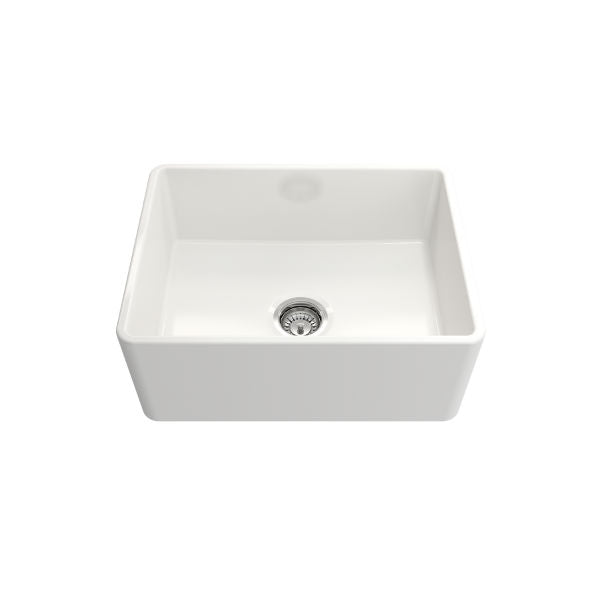 "Bocchi Classico 24"" White Fireclay Farmhouse Sink With Free Grid & Strainer - Annie & Oak"