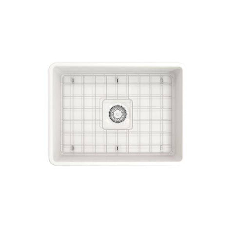 "Image of Bocchi Classico 24"" White Fireclay Farmhouse Sink With Free Grid & Strainer - Annie & Oak"