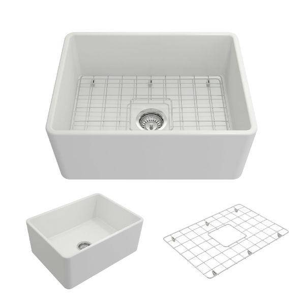"Bocchi Classico 24"" Matte White Fireclay Farmhouse Sink With Free Grid & Strainer-Annie & Oak"