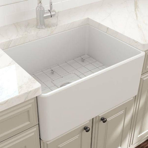 "Image of Bocchi Classico 24"" Matte White Fireclay Farmhouse Sink With Free Grid & Strainer-Annie & Oak"