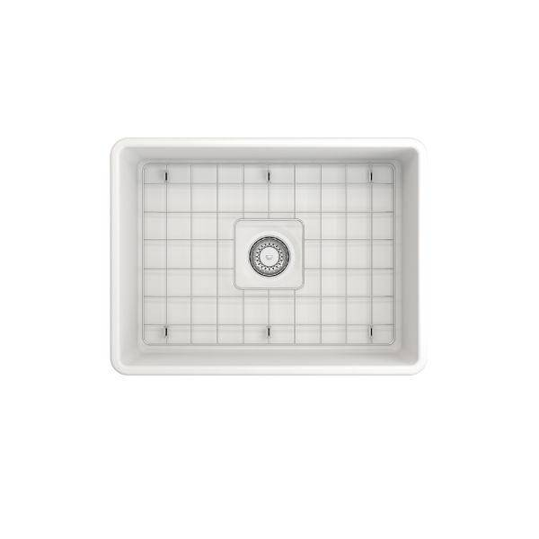 "Bocchi Classico 24"" Matte White Fireclay Farmhouse Sink With Free Grid & Strainer - Annie & Oak"