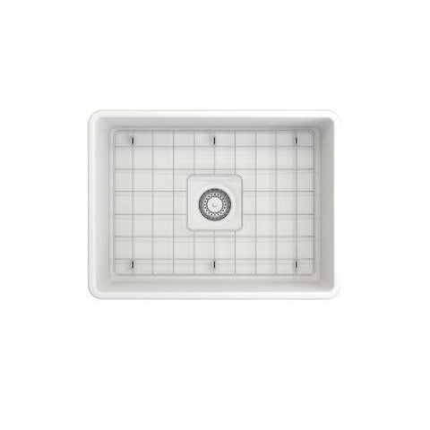 "Image of Bocchi Classico 24"" Matte White Fireclay Farmhouse Sink With Free Grid & Strainer - Annie & Oak"