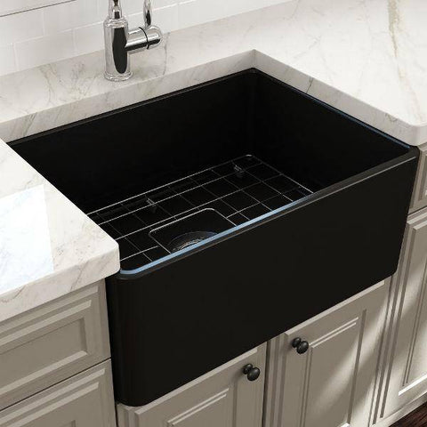 "Image of Bocchi Classico 24"" Matte Black Fireclay Farmhouse Sink With Free Grid & Strainer - Annie & Oak"