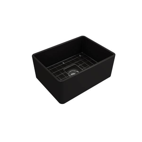 "Bocchi Classico 24"" Matte Black Fireclay Farmhouse Sink With Free Grid & Strainer - Annie & Oak"