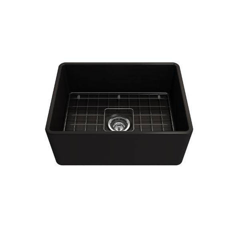 "Bocchi Classico 24"" Matte Black Fireclay Farmhouse Sink With Free Grid & Strainer-Annie & Oak"