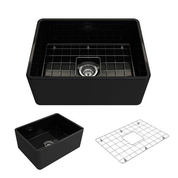 "Bocchi Classico 24"" Black Fireclay Farmhouse Sink With Free Grid & Strainer - Annie & Oak"
