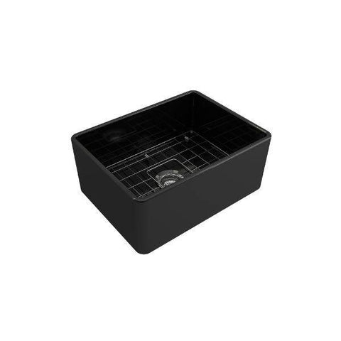 "Image of Bocchi Classico 24"" Black Fireclay Farmhouse Sink With Free Grid & Strainer - Annie & Oak"