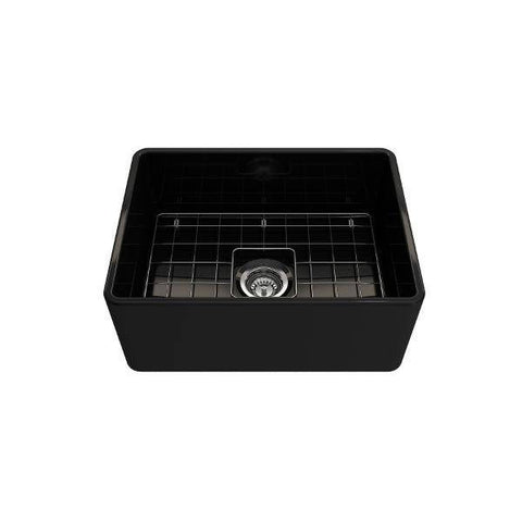"Bocchi Classico 24"" Black Fireclay Farmhouse Sink With Free Grid & Strainer-Annie & Oak"
