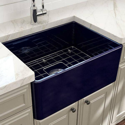 "Image of Bocchi Classico 24"" Blue Fireclay Farmhouse Sink With Free Grid-Annie & Oak"
