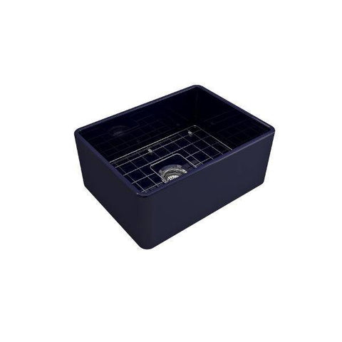 "Bocchi Classico 24"" Blue Fireclay Farmhouse Sink With Free Grid-Annie & Oak"
