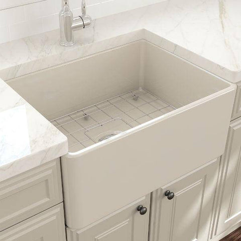 "Image of Bocchi Classico 24"" Biscuit Fireclay Farmhouse Sink With Free Grid-Annie & Oak"