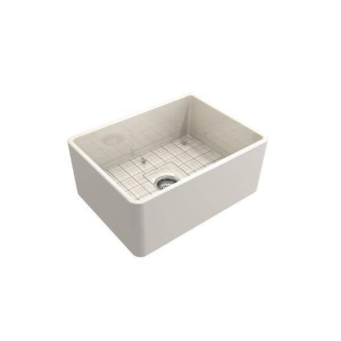 "Bocchi Classico 24"" Biscuit Fireclay Farmhouse Sink With Free Grid - Annie & Oak"