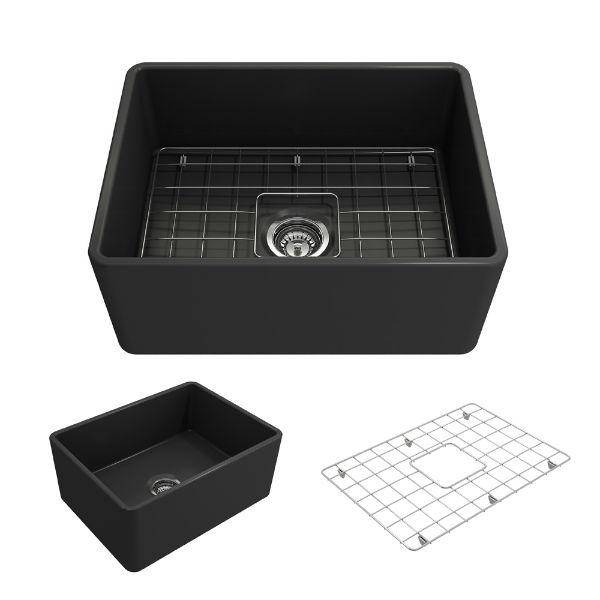 "Bocchi Classico 24"" Dark Gray Fireclay Farmhouse Sink With Free Grid - Annie & Oak"