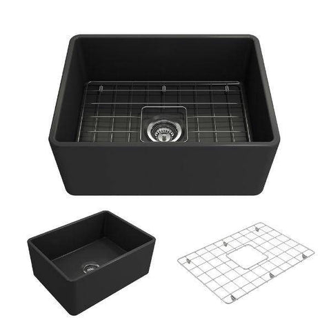 "Bocchi Classico 24"" Dark Gray Fireclay Farmhouse Sink With Free Grid-Annie & Oak"