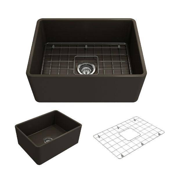 "Bocchi Classico 24"" Brown Fireclay Farmhouse Sink With Free Grid - Annie & Oak"