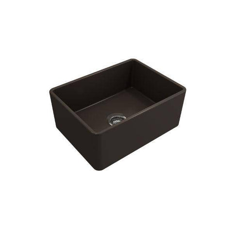 "Image of Bocchi Classico 24"" Brown Fireclay Farmhouse Sink With Free Grid-Annie & Oak"