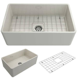 Bocchi Classico Biscuit 30 Single Bowl Fireclay Farmhouse Sink With Free Grid