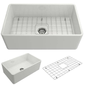 Bocchi Classico 30 White Single Bowl Fireclay Farmhouse Sink With Free Grid