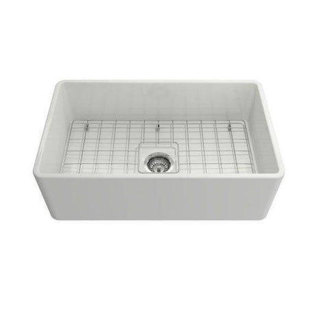 Bocchi Classico 30 White Single Bowl Fireclay Farmhouse Sink With Free Grid-Annie & Oak