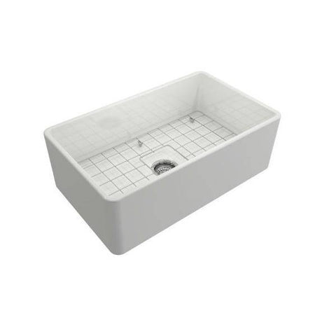 Image of Bocchi Classico 30 White Single Bowl Fireclay Farmhouse Sink With Free Grid - Annie & Oak