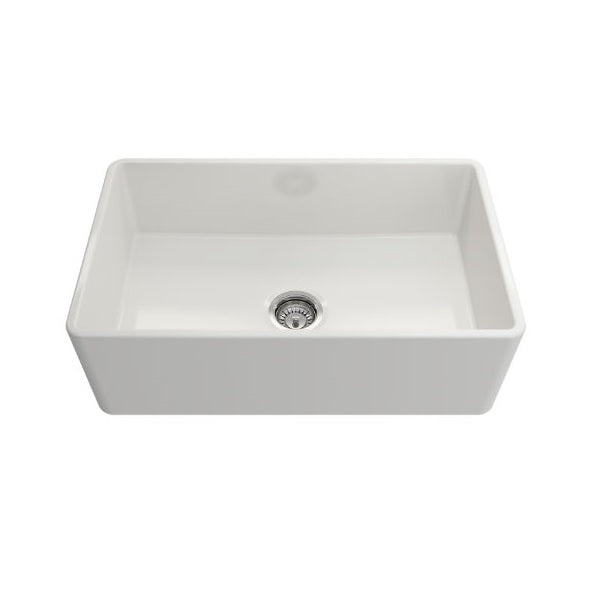 Bocchi Classico 30 White Single Bowl Fireclay Farmhouse Sink With