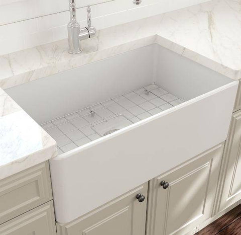Image of Bocchi Classico Matte White 30 Single Bowl Fireclay Farmhouse Sink With Free Grid - Annie & Oak