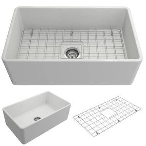 Bocchi Classico Matte White 30 Single Bowl Fireclay Farmhouse Sink With Free Grid