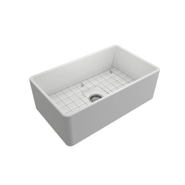 Bocchi Classico Matte White 30 Single Bowl Fireclay Farmhouse Sink With Free Grid - Annie & Oak