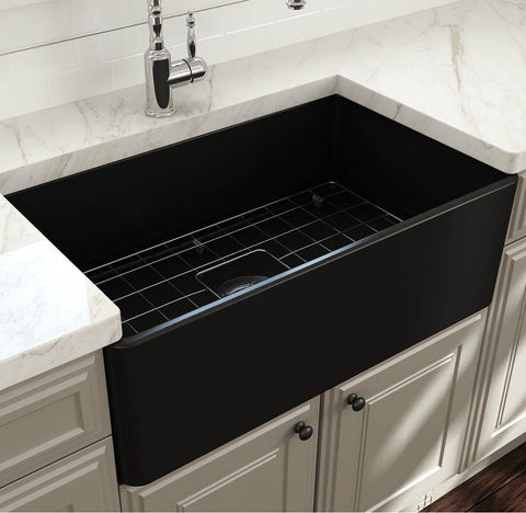 Image of Bocchi Classico 30  Matte Black Fireclay Farmhouse Sink Single Bowl With Free Grid - Annie & Oak