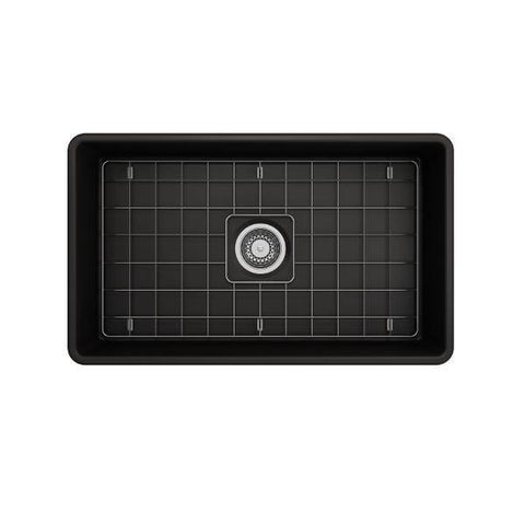 Image of Bocchi Classico 30 Matte Black Fireclay Farmhouse Sink Single Bowl With Free Grid-Annie & Oak