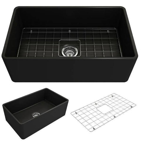 Bocchi Classico 30 Matte Black Fireclay Farmhouse Sink Single Bowl With Free Grid-Annie & Oak