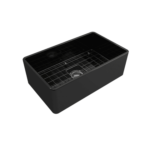 Bocchi Classico 30  Black Fireclay Farmhouse Sink Single Bowl With Free Grid - Annie & Oak