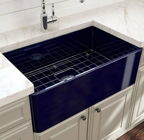 Bocchi Classico 30 Blue Single Bowl Fireclay Farmhouse Sink With Free Grid-Annie & Oak