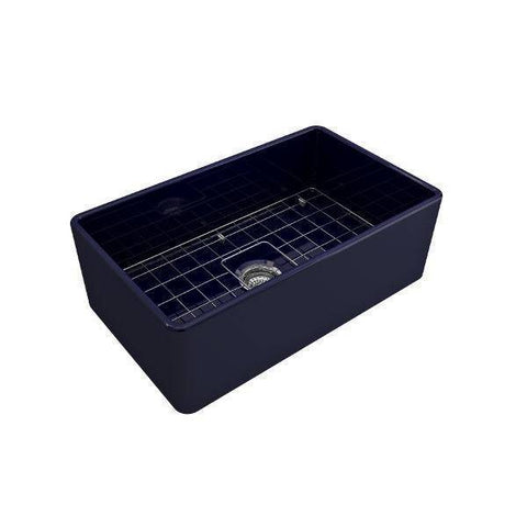 Image of Bocchi Classico 30 Blue Single Bowl Fireclay Farmhouse Sink With Free Grid-Annie & Oak
