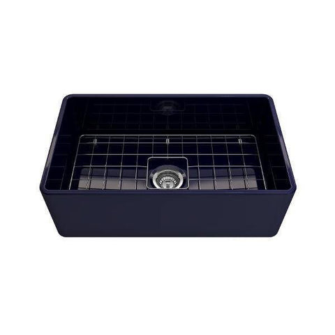 Image of Bocchi Classico 30 Blue Single Bowl Fireclay Farmhouse Sink With Free Grid - Annie & Oak