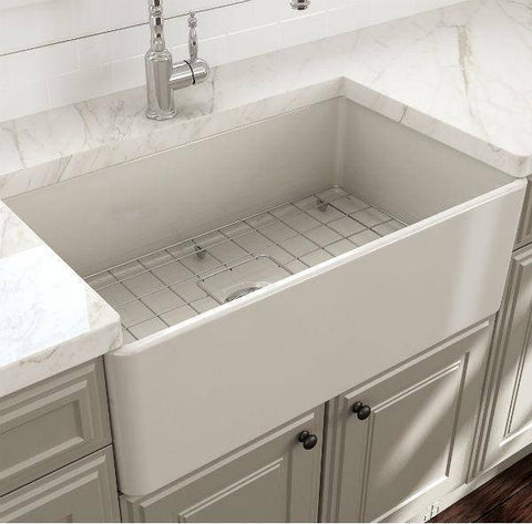 Bocchi Classico Biscuit 30 Single Bowl Fireclay Farmhouse Sink With Free Grid - Annie & Oak