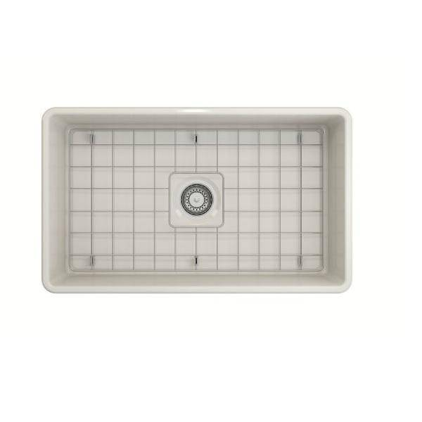Bocchi Classico Biscuit 30 Single Bowl Fireclay Farmhouse Sink With Free Grid-Annie & Oak