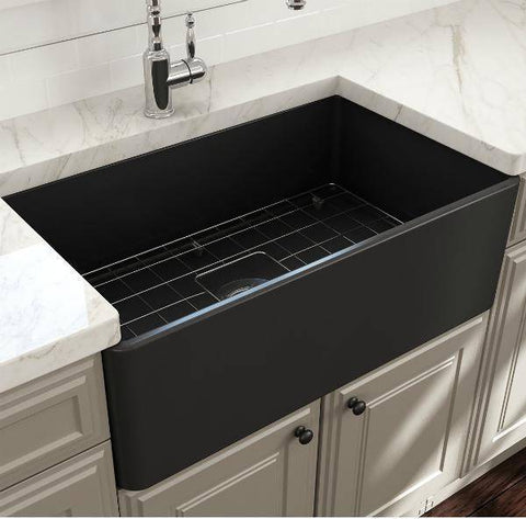 Image of Bocchi Gray Classico 30 Fireclay Farmhouse Sink Single Bowl With Free Grid & Strainer-Annie & Oak