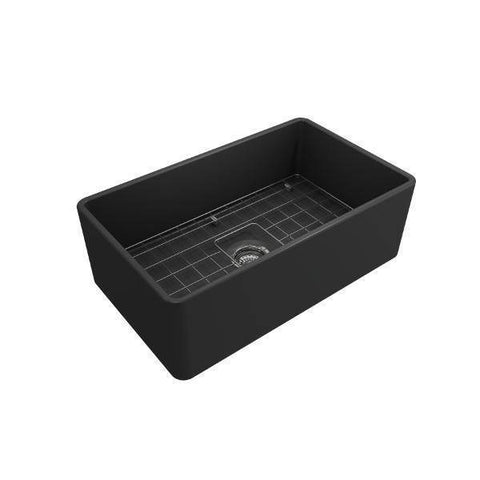 Bocchi Gray Classico 30 Fireclay Farmhouse Sink Single Bowl With Free Grid & Strainer-Annie & Oak