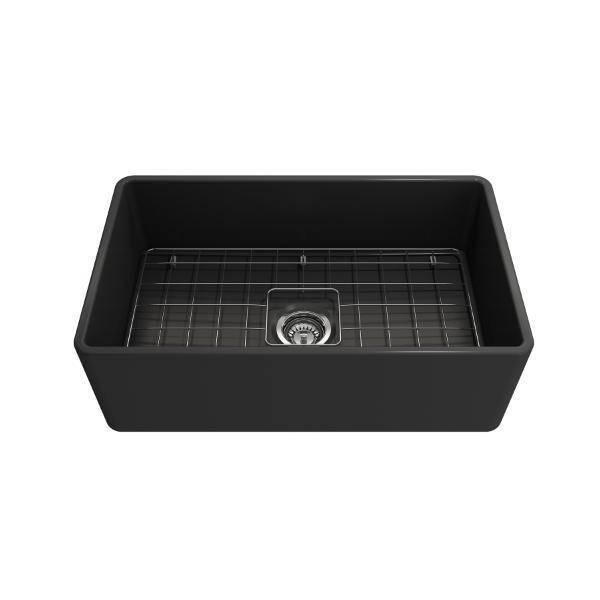 Bocchi Classico 30 Dark Gray Fireclay Farmhouse Sink Single Bowl With Free Grid - Annie & Oak