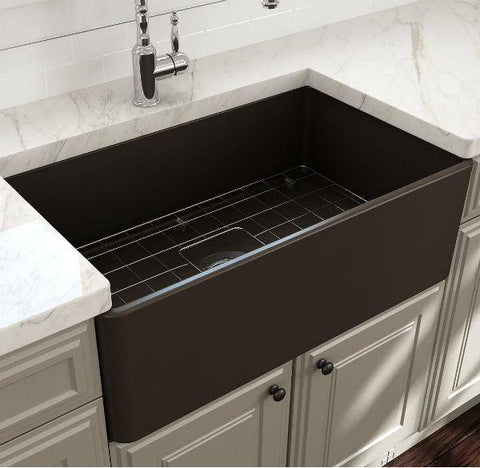 Image of Bocchi Classico 30 Matte Brown Single Bowl Fireclay Farmhouse Sink With Free Grid-Annie & Oak