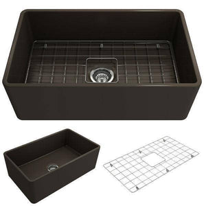 Bocchi Classico 30 Matte Brown Single Bowl Fireclay Farmhouse Sink With Free Grid