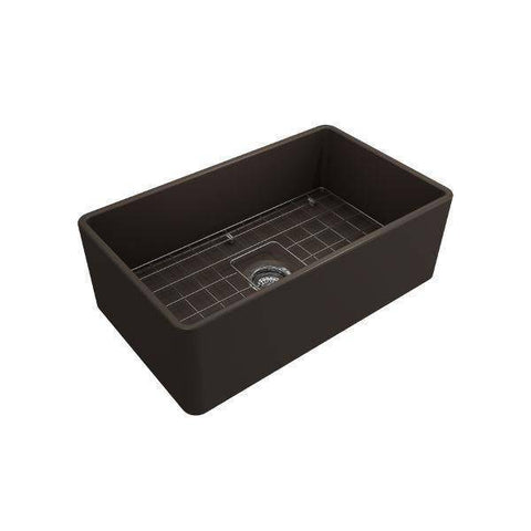 Image of Bocchi Classico 30 Matte Brown Single Bowl Fireclay Farmhouse Sink With Free Grid - Annie & Oak